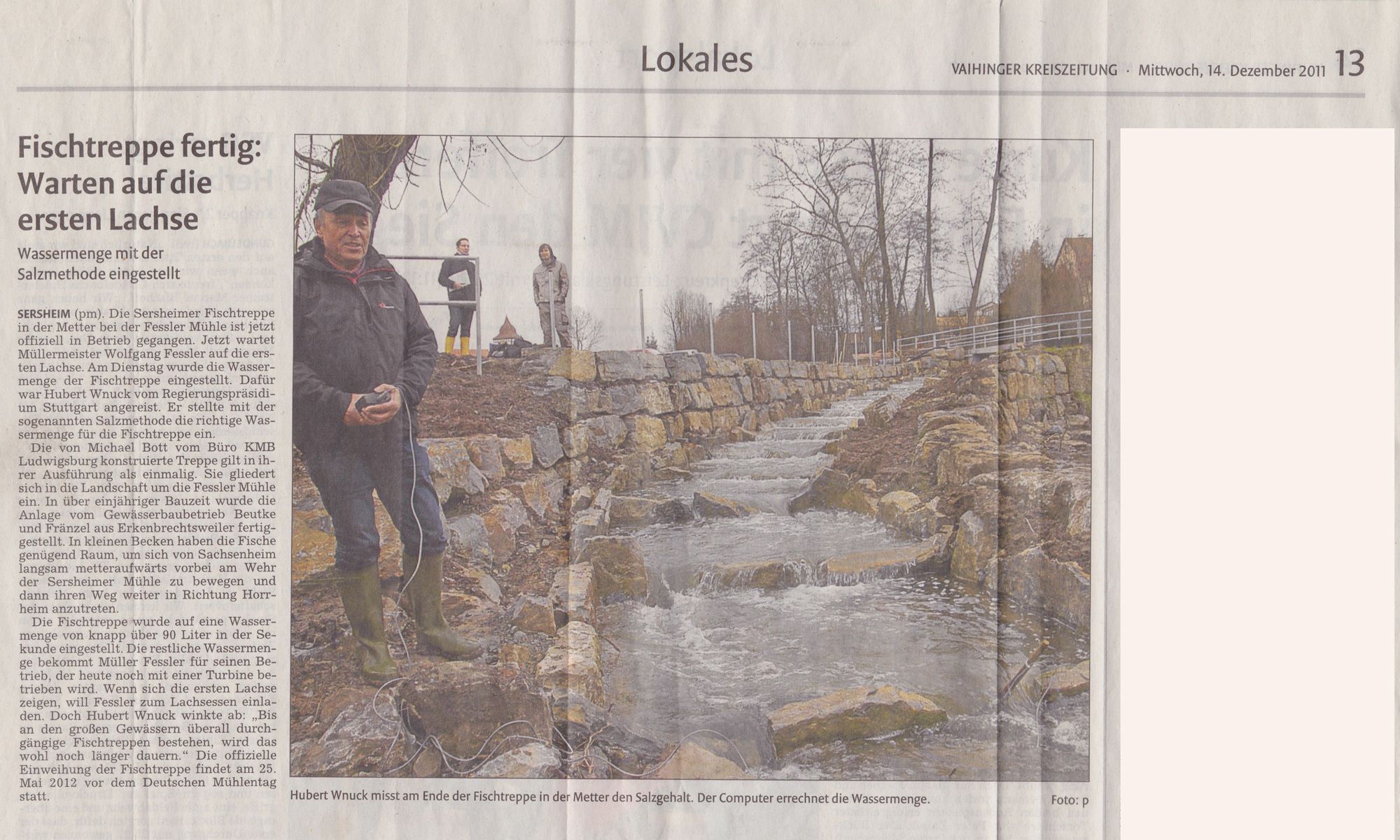 Vaihinger Kreiszeitung: Fischtreppe bei der Sersheimer Fessler-Mühle, Beutke & Fränzel